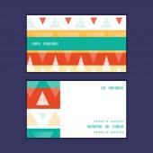 Vector vibrant ikat stripes horizontal stripe frame pattern business cards set — Stock Vector