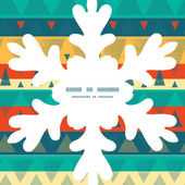 Vector vibrant ikat stripes Christmas snowflake silhouette pattern frame card template — Stock Vector