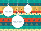 Vector vibrant ikat stripes Christmas ornaments silhouettes pattern frame card template — Wektor stockowy