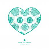 Vector abstract green decorative circles stars striped heart silhouette pattern frame — Stockvektor
