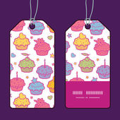 Vector colorful cupcake party vertical stripe frame pattern tags set — Stock Vector
