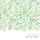 Vector ecology symbols horizontal frame seamless pattern background — Stock Vector