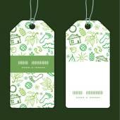Vector ecology symbols vertical stripe frame pattern tags set — Stock Vector