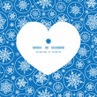 Vector falling snowflakes heart silhouette pattern frame — Stock Vector #60565661