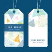 Vector abstract fabric triangles vertical stripe frame pattern tags set — Stock Vector