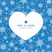 Vector falling snowflakes heart silhouette pattern frame — Wektor stockowy