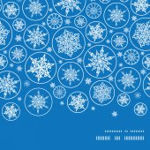 Vector falling snowflakes horizontal frame seamless pattern background — Stock Vector