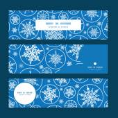Vector falling snowflakes horizontal banners set pattern background — Vector de stock