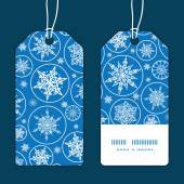 Vector falling snowflakes vertical stripe frame pattern tags set — Stock Vector