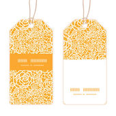 Vector golden lace roses vertical stripe frame pattern tags set — Stock Vector