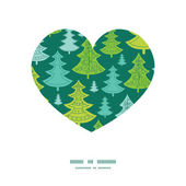 Vector holiday christmas trees heart silhouette pattern frame — Stockvektor