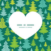 Vector holiday christmas trees heart silhouette pattern frame — Wektor stockowy