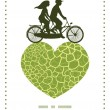 Vector abstract green natural texture couple on tandem bicycle heart silhouette frame pattern greeting card template — Stock Vector #67275885