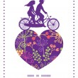 Vector colorful garden plants couple on tandem bicycle heart silhouette frame pattern greeting card template — Stock Vector #67276185