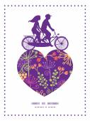 Vector colorful garden plants couple on tandem bicycle heart silhouette frame pattern greeting card template — Stockvektor