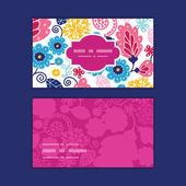 Vektör fairytale çiçek yatay çerçeve desen kartvizit set — Stok Vektör