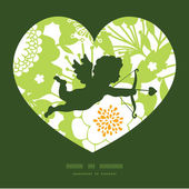 Vector Green and Golden Garden Silhouettes Shooting Cupid Silhouette Frame Pattern Invitation Greeting Card Template — Stock Vector
