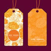 Vector golden art flowers vertical round frame pattern tags set — Stock Vector