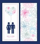 Vector gray and pink lineart florals couple in love silhouettes frame pattern invitation greeting card template — Vettoriale Stock