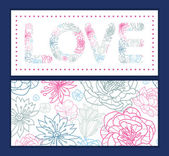Vector gray and pink lineart florals love text frame pattern invitation greeting card template — Stock Vector