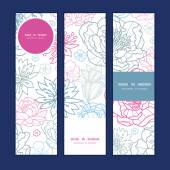 Vector gray and pink lineart florals vertical banners set pattern background — Stock Vector