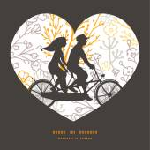 Vector magical floral couple on tandem bicycle heart silhouette frame pattern greeting card template — Stockvektor