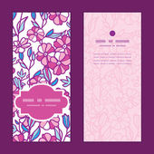 Vector vibrant field flowers vertical frame pattern invitation greeting cards set — Stock Vector