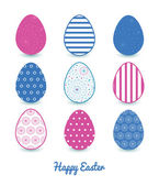 Vector Blue Abstract Line Art Circles Set of Nine Colorful Easter Eggs Card Template — Vettoriale Stock