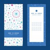 Vector blue abstract line art circles vertical frame pattern invitation greeting cards set — Vector de stock