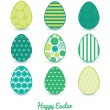 Vector Abstract Green Circles Set of Nine Colorful Easter Eggs Card Template — Vecteur #67281901