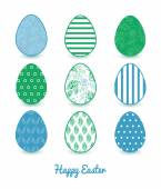Vector Abstract Blue and Green Leaves Set of Nine Colorful Easter Eggs Card Template — Stockvector