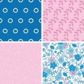 Vector Blue and Pink Kimono Blossoms Set of Four Marching Repeat Patterns Backgrounds — Stock Vector