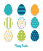Vector Colorful Horizontal Ogee Set of Nine Easter Eggs Card Template — Cтоковый вектор