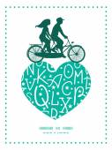 Vector white green alphabet letters couple on tandem bicycle heart silhouette frame pattern greeting card template — Stock Vector