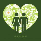 Vector green golden garden couple in love silhouettes frame pattern invitation greeting card template — Stock Vector