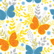 Vector vibrant blue and orange butterflies seamless pattern background — Stock Vector #70748687