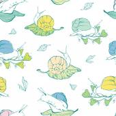Vector lineart snails on leaves seamless pattern background — Stock Vector