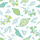 Vector lineart spring leaves seamless pattern background — Stock Vector