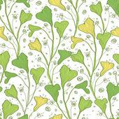 Vector green line art plants seamless pattern background — Stock Vector