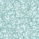 Vector green floral swirls seamless pattern backround — Stock Vector