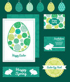 Vector abstract green circles set of Easter cards, labels, tags and banners templates — Stock Vector