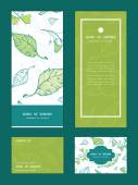 Vector lineart spring leaves vertical frame pattern invitation greeting, RSVP and thank you cards set — Stock Vector
