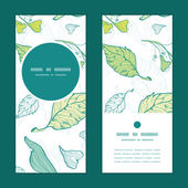 Vector lineart spring leaves vertical round frame pattern invitation greeting cards set — Stock Vector