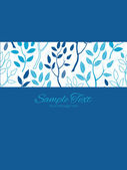Vector blue forest stripe frame vertical card invitation template — Stock Vector