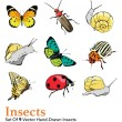 Vector Insects 9 Elements Set Seamless Pattern — Stock Vector #79077436