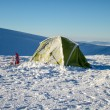 Camping during winter hiking in Carpathian mountains. — Stock Photo #65086813