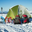 Camping during winter hiking in Carpathian mountains. — Stock Photo #65090045