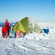 Camping during winter hiking in Carpathian mountains. — Stock Photo #65091399