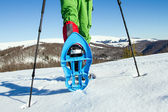 Winter hiking in the mountains on snowshoes with a backpack and tent. — Stock Photo