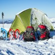 Camping during winter hiking in Carpathian mountains. — Stock Photo #65392837